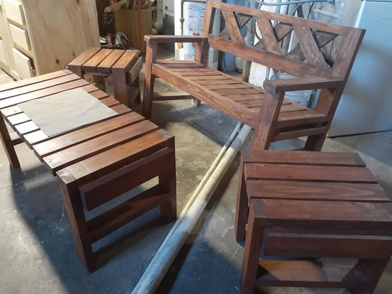 Lawn patio bench with tables