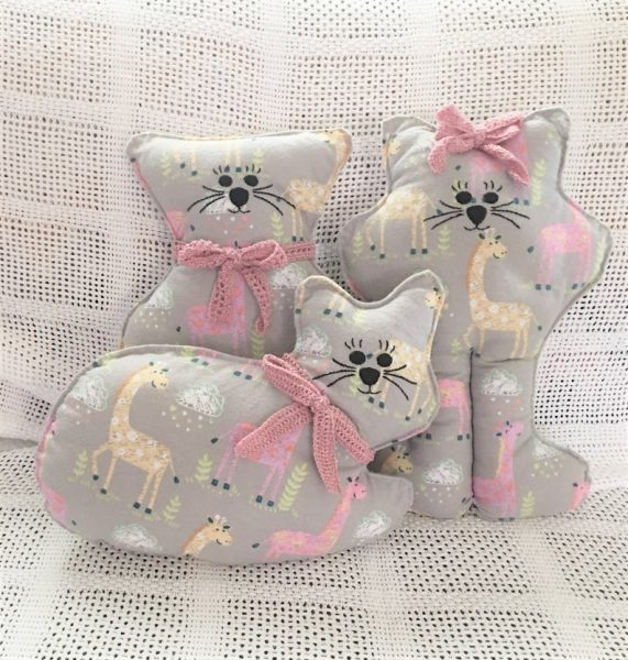 Set of Three Soft Kitty Pillows, Stuffed Kitties, Approximately 14″ tall, A Unique handmade/handstitched gift for baby