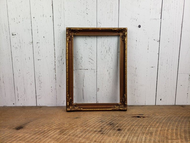 Vintage Gold Wood Picture Frame w/ Glass 9×13 Art or Photo Rococo Style Wooden Filigree Old Hollywood Regency Victorian Decor Wall Hanging