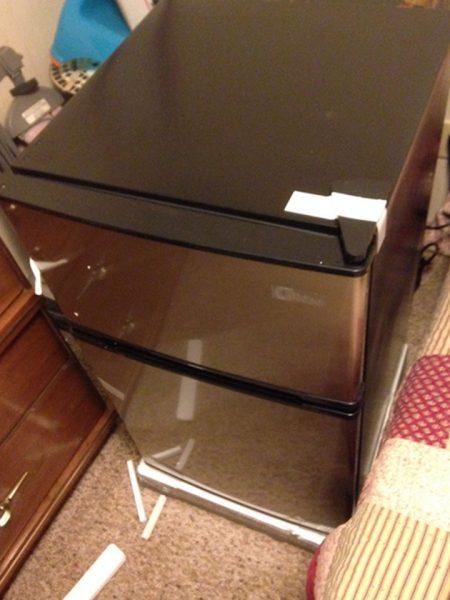 3.1 cu ft, Stainless Steel & Black Double Door Mini Fridge